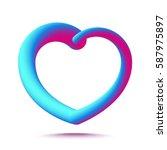 3d heart logo isolated on white ... | Shutterstock .eps vector #587975897