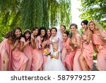 wedding party  crazy emotions... | Shutterstock . vector #587979257