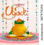 happy ugadi  holiday set ... | Shutterstock .eps vector #587979293