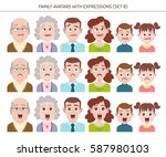 set of family avatars with... | Shutterstock .eps vector #587980103