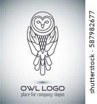owl logo lineart template.line... | Shutterstock .eps vector #587982677