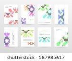 memphis geometric background... | Shutterstock .eps vector #587985617