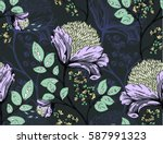 pattern with flowers on black... | Shutterstock .eps vector #587991323