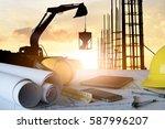desk of civil engineer with... | Shutterstock . vector #587996207