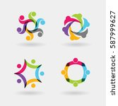 vector logo icons of people... | Shutterstock .eps vector #587999627