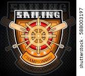 wooden steering wheel with...   Shutterstock .eps vector #588003197