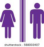 toilet man women purple | Shutterstock .eps vector #588003407