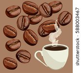 cup of coffee and coffee beans. ... | Shutterstock .eps vector #588003467