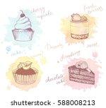 sketches of scrumptious... | Shutterstock .eps vector #588008213