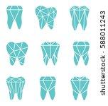tooth logo set. vector... | Shutterstock .eps vector #588011243