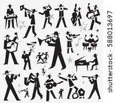 jazz band doodles | Shutterstock .eps vector #588013697