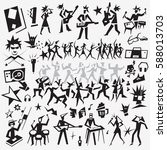 music party   dance doodles | Shutterstock .eps vector #588013703