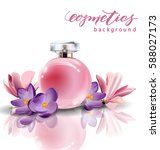 pink bottle women's perfume... | Shutterstock .eps vector #588027173