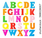 colorful wooden alphabet... | Shutterstock . vector #588028007