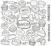 bakery shop food doodle vector... | Shutterstock .eps vector #588033383