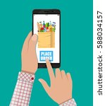 hand holding smartphone with... | Shutterstock .eps vector #588034157