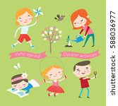 spring and summer child's... | Shutterstock .eps vector #588036977