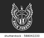 wings and guitar for rock music ... | Shutterstock .eps vector #588042233