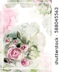 watercolor floral design for... | Shutterstock . vector #588045563