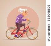 grandmother character ride bike....   Shutterstock .eps vector #588048803