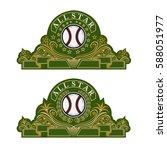 baseball ball in center of...   Shutterstock .eps vector #588051977