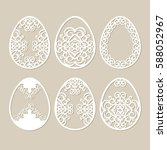 set stencil easter eggs with... | Shutterstock .eps vector #588052967