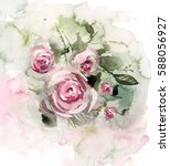 watercolor floral design for... | Shutterstock . vector #588056927