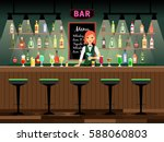 bar counter with bartender lady ... | Shutterstock .eps vector #588060803