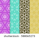 seamless set floral pattern.... | Shutterstock .eps vector #588065273