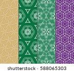 seamless set floral pattern.... | Shutterstock .eps vector #588065303