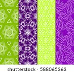 seamless set floral pattern.... | Shutterstock .eps vector #588065363