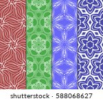 set of modern floral pattern of ... | Shutterstock .eps vector #588068627