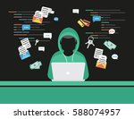 faceless thief or hacker... | Shutterstock .eps vector #588074957