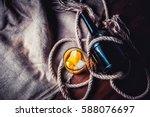 a bottle of whiskey  rum ...   Shutterstock . vector #588076697