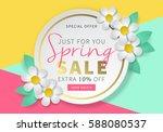 spring sale round banner... | Shutterstock .eps vector #588080537
