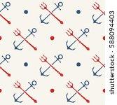 hand drawn seamless nautical... | Shutterstock .eps vector #588094403