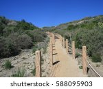stairway leading up a hill side ... | Shutterstock . vector #588095903