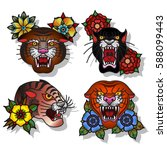 vector wild cats set... | Shutterstock .eps vector #588099443