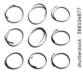 set hand drawn ovals  felt tip... | Shutterstock .eps vector #588106877