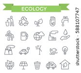 ecology and environment icons ... | Shutterstock .eps vector #588107747