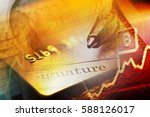 gold credit card. macro image | Shutterstock . vector #588126017