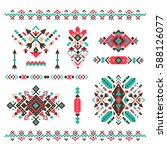 Set of fashion mexican, navajo or aztec, native american patterns. geometric ethnic decoration. Colored vector tribal design element for tattoo, frame and border, textile, fabric or paper print. | Shutterstock vector #588126077