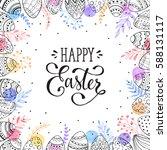 easter frame with eggs hand... | Shutterstock . vector #588131117
