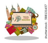 travel planning to madrid flat... | Shutterstock .eps vector #588131657