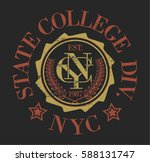 vintage college new york nyc... | Shutterstock .eps vector #588131747