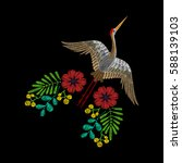 embroidery with asian crane ... | Shutterstock .eps vector #588139103