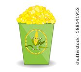 cup of hot boiled corn with... | Shutterstock .eps vector #588141953