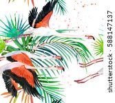 watercolor flamingo and palm... | Shutterstock . vector #588147137