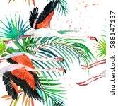 flamingo seamless pattern.... | Shutterstock . vector #588147137