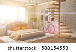 bedroom interior. 3d... | Shutterstock . vector #588154553